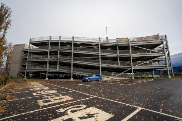 Modern multi storey car park at Amazon Milton Keynes